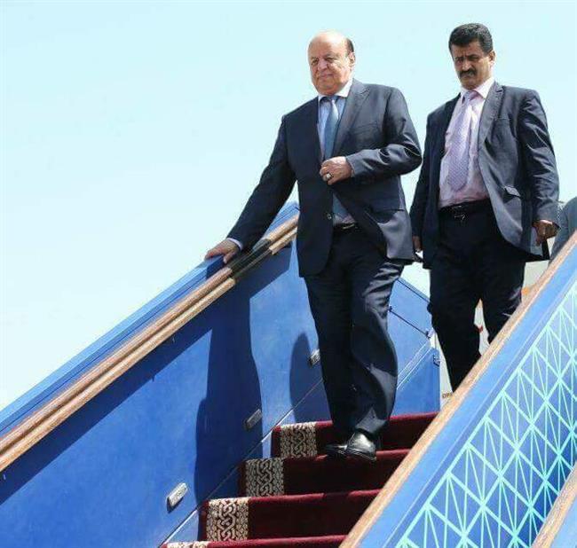 الرئيس اليمني  يصل إلى العاصمة اليمنية المؤقتة عدن