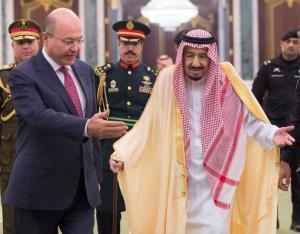 الرئيس العراقي برهم صالح  والملك سلمان